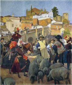 """Sorolla recibió el encargo de crear un cuadro para cada región española. En 1917 eligió Plasencia para representar Extremadura. Es """"El Mercado"""""""