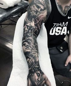 Cool Grey Gods Tattoo Mens Full Sleeves