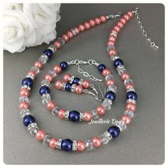 Coral and Navy Necklace Coral Jewelry Navy Bracelet Coral Bracelet Jewelry Set Bridesmaid Gift for Her Maid of Honor Gift Wedding Jewelry by JoaillerieDaisy on Etsy https://www.etsy.com/ca/listing/529159775/coral-and-navy-necklace-coral-jewelry