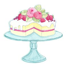 Watercolour cake Illustration for Paper Craft Company.
