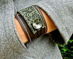 Manchette cuir femmes enveloppement Bracelet, Florance Estampe in Brown & asperges, taille ajustable * vente * Codes Promo