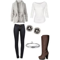 Fall outfit/ winter outfit. I actually really like this outfit. Although I rarely wear white. I'm not so sure about the heel on the boots and the boots in general. I think I would change that. ANYWAY! This outfit is super cute and would totally wear this to school.