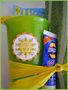 Summer fun kit for teachers (includes cup, magazine, candy, towel, and sunscreen).