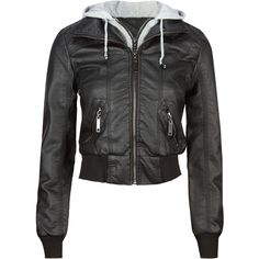 FULL TILT Fleece Hooded Womens Faux Leather Jacket ($25) ❤ liked on Polyvore featuring outerwear, jackets, tops, leather jacket, coats, black, faux leather zip jacket, imitation leather jacket, zip jacket and vegan jackets