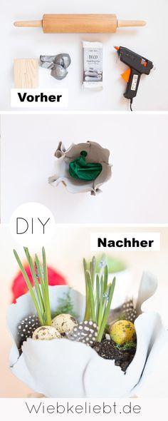 DIY Frühlingsdeko basteln mit lufttrocknender Modelliermasse. Frühlingshafte Pflanzschalen für Hyazinthen selber machen. Tischdeko für den Frühling und Ostern. #frühlingsdeko #Hyazinthen #diydeko #osterdeko #pflenzschale Diy Blog, Making Ideas, German, Crafty, Illustration, Inspiration, Diys, Diy, Modelling Clay
