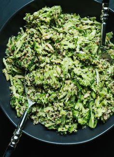Quinoa Broccoli Slaw with Honey Mustard Dressing - saute broccoli, add avocado, use all lemon juice for dressing