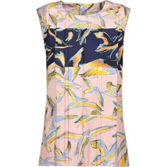 Emilio Pucci - Printed Silk-satin Twill Top featuring polyvore women's fashion clothing tops multi print top emilio pucci top emilio pucci colorful tops key hole top