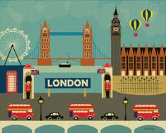 London England Collage of City Landmarks   Art by loosepetals, pinned by www.funkyfabrix.com.au