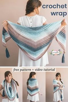 Learn how to crochet this easy Wishing Well Wrap with my free pattern and video tutorial - use easy self striping yarn to create a beginner lacy shawl for all sizes. easy watches Crochet Wrap - Wishing Well Wrap - Free Crochet Pattern Poncho Au Crochet, Crochet Prayer Shawls, Pull Crochet, Crochet Wrap Pattern, Crochet Shawls And Wraps, Crochet Patterns, Crochet Scarves, Crochet Stitches, Prayer Shawl Crochet Pattern