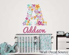 Flower Custom Initial Decal  Floral Monogram by WallDecalSource, $40.00