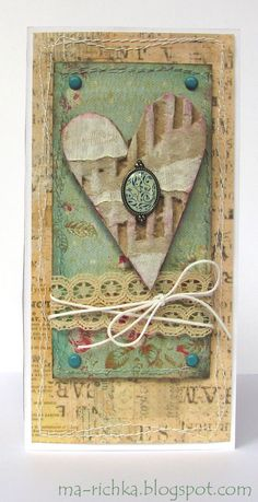 Handmade Valentine card .. vintage look ... shabby chic ... collage ... machine sewing  borders attach layers ...