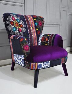 Patchwork armchair with Suzani and purple by namedesignstudio - a real statement piece! Funky Painted Furniture, Upcycled Furniture, Cool Furniture, Furniture Design, Hammock Swing Chair, Swinging Chair, Patchwork Chair, Black Dining Room Chairs, Leather Recliner Chair