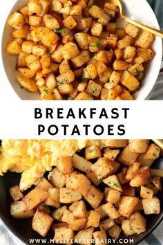Serve up a simple and savory side of these easy to make roasted breakfast potatoes for your next breakfast or brunch. Made with just a handful of pantry-staple ingredients, these easy roasted home fries are the perfect addition to a plate of eggs, pancakes, and more! With crispy on the outside and tender on the inside bites these easy breakfast potatoes are sure to be a hit. Crispy Breakfast Potatoes, Baked Potato Oven, Savory Breakfast, Breakfast Bowls, Tasty Dishes, Side Dishes, Brunch Recipes, Breakfast Recipes, Over Easy Eggs