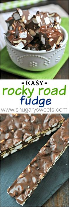 This easy Rocky Road Fudge recipe is made with only 5 ingredients and whipped up in the microwave! Perfect for your next chocolate craving! Fudge Recipes, Candy Recipes, Sweet Recipes, Baking Recipes, Dessert Recipes, Baking Ideas, Rocky Road Fudge, Just Desserts, Delicious Desserts
