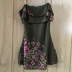 Flower patterned blouse  - VERY GENTLY USED. Beautifully patterned summer shirt. Stretchy and tightly fitted. Size small. Thin light beige straps. Designed with two small cut on the sides it becomes a little looser on the bottom. Super lightweight. 100% polyester. Moa Moa Tops Blouses