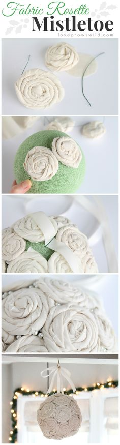 Steal some smooches underneath this beautiful DIY Fabric Rosette Mistletoe Ball! Learn how to make one for your home at LoveGrowsWild.com