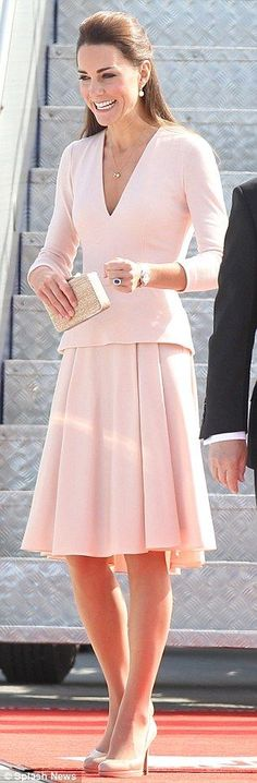 Perfect in pink: Kate Middleton chose a pale pink Alexander McQueen for her Adelaide visit in South Australia: