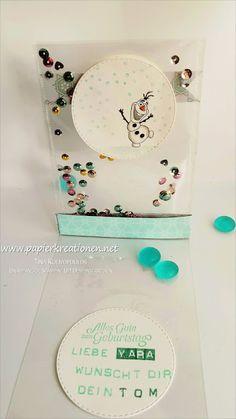 Papierkreationen.net, Stampin' Up! Eine total transparente Schüttelkarte mit Disneys Olaf (und Elsa auf der Vorderseite).