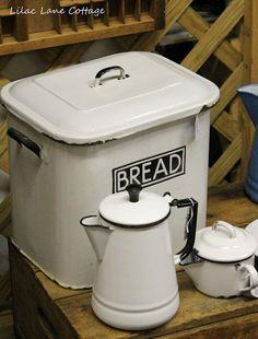 This feels like grandma's kitchen. Old fashioned bread bin. www.madblossom.com.au