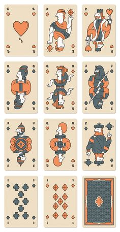 A deck of custom illustrated playing cards featuring historical figures and cultures.