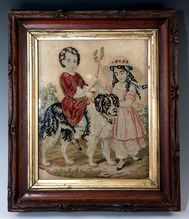 Antique Victorian Era Needlepoint, Framed, Children and their Large Dog, Newfoundland, Perhaps? Embroidery Sampler, Vintage Embroidery, Needlepoint Kits, Large Dogs, Victorian Era, Textile Art, Art Images, Wall Tapestry, Folk Art