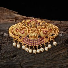 Antique Hair Brooch studded with synthetic ruby stones and pearl pearls! Gold Jhumka Earrings, Gold Earrings Designs, Necklace Designs, Stud Earrings, Gold Pendant, Pendant Jewelry, Gold Jewelry, Women Jewelry, Diamond Pendant