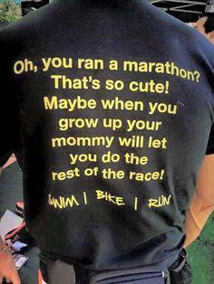 Some day I will run a marathon and then do a full ironman then get this shirt HAHAH Ironman Triathlon Tattoo, Ironman Triathlon Motivation, Running Humor, Running Workouts, Swimming Motivation, Triathalon, Run Runner, Athletic Events, Triathlon Training