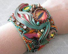 "OOAK Shibori Silk Embroidered Bracelet, ""Eye Feel Fall Coming"" Bracelet"