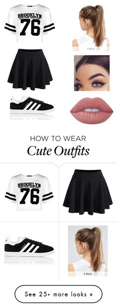 """cute teenage outfit"" by alyssalissyann on Polyvore featuring Boohoo, NIKE, adidas, Lime Crime and WithChic"