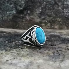 Handmade 925K Sterling Silver Mens Ring With Howlite | Etsy Jewelry Stores Near Me, Sterling Silver Mens Rings, Aquamarine Stone, Jade Stone, Turquoise Stone, Beautiful Rings, Handmade Silver, Gemstone Rings, Rings For Men