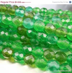 25% Off Czech Glass Faceted Round Beads by mountainshadowdesign (Craft Supplies & Tools, Jewelry & Beading Supplies, Beads, Round & Ball Beads, mountainshadowdesign, glass bead, czech, glass, beads, full strand, czech glass round, green blue, 8mm, green assortment, faceted rounds)