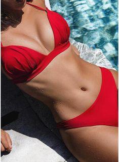Swimwear Women Bikini Set Push Up Bikini Solid Color Swimwear Swimsuit Bathing Suit Two Piece Swimsuit Maillot De Bain Femme Bikini Push Up, Sexy Bikini, Women Bikini, Halter Bikini, Bikini Swimsuit, Bikini Girls, Thong Bikini, Bikinis Lindos, Tankini