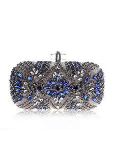 Diamond Decorations, Wedding Clutch, Wedding Bags, Wedding Gowns, Blue Clutch, Rhinestone Wedding, Rhinestone Dress, Silver Rhinestone, Ali Express