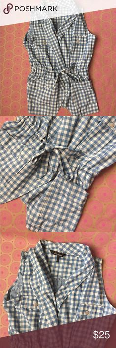 Baccini long Plaid Vest! Longer style Baccini blue and cream vest! Front pockets! Drawstring waist! Very soft and comfy! Great with leggings or jeans! 28 inches long. Bust measuring across the front 19 inches! Great condition! Size Medium! Baccini Jackets & Coats Vests