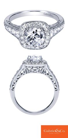 Gabriel & Co. - A timeless love. A 14k White Gold Diamond Halo Engagement Ring. Discover your perfect engagement ring.