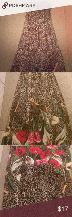 Gorgeous animal print flower maxi dress Beautiful animal print dress never worn. Ties in the back. Strapless.   Size small. Accepting reasonable offers ;-) Love Culture Dresses Maxi