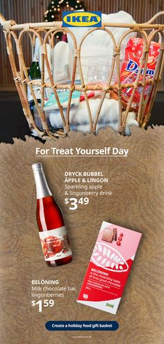 Is there a special person in your life who deserves a Treat Yourself Day? Give them a special holiday food gift basket! Fill it with relaxing essentials, like sparkling drinks, candy bars and other items from our Swedish Food Market. Holiday Gift Baskets, Holiday Gifts, Sparkling Drinks, Swedish Recipes, Candy Bars, Special Person, Food Gifts, Treat Yourself, Winter Holidays