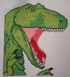 Dinosaur cross stitch! This is based on the second panel of the daily Dinosaur Comic at Quantz.