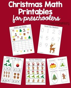Download this packet of free Christmas math printables to use with preschoolers.