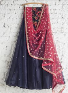 Lehengas by SwatiManish : Ultramarine blue lehenga with coral pink duapatta and floral blouse