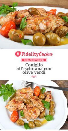 Coniglio all'ischitana con olive verdi Italian Recipes, Deserts, Food And Drink, Appetizers, Olive, Chicken, Cooking, Food La, Terra