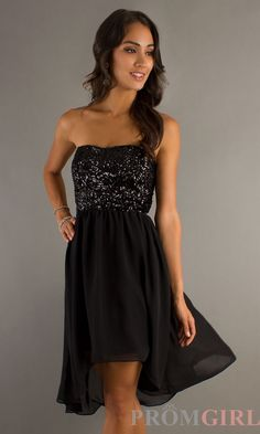 Short Embellished Black High Low Dress XO-6300HC05