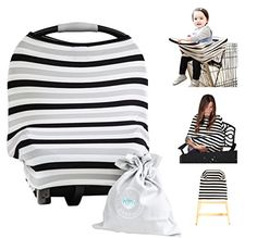 Baby Car Seat Cover Canopy Nursing Cover MultiUse 41 Stretchy Infinity Nursing Scarf Grocery Shopping Cart Cover High Chair Covers Black Grey Stripe Unisex Baby Shower Gift -- You can find out more details at the link of the image. Nursing Shawl, Infinity Nursing Scarf, Unisex Baby Shower, Baby Shower Gifts, Best Nursing Cover, Nursing Covers, Milk Snob Cover, Best Car Seats, Highchair Cover