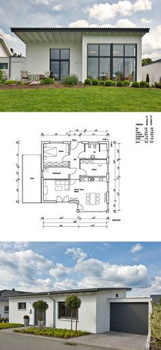 Bungalow house floor plan with garage and pent roof architecture - Detached house ba . Modern Garage, Modern House Plans, House Floor Plans, Loft Design, Garage Design, House Design, Simply Home, Roof Architecture, Modern Bungalow