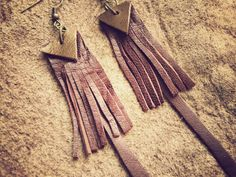 LEATHER  FRINGE EARRINGS  brown gold  tribal ethnic by SiamicWear