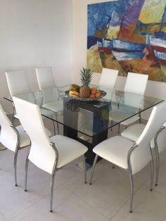 Juego de comedor 6 sillas y mesa con base acero for Comedores con sillas altas