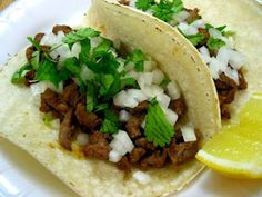 Authentic Mexican Carne Asada Tacos.