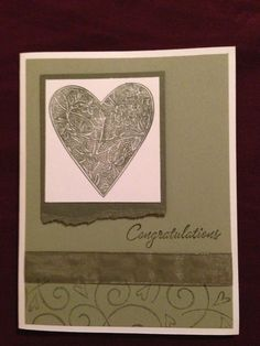 Congratulations -  Stampin' Up! But what I would do instead would use 2 finger or thumb prints to make the heart!