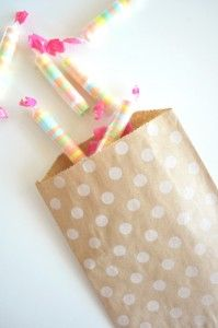 spotty brown kraft paper bags--easy to make....  For Christmas make green and red spots.... OR even gold or silver glitter dots!  nice! HW
