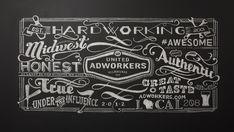 United Adworkers | Membership Chalkboard Art by Kelsey Barnowsky, via Behance